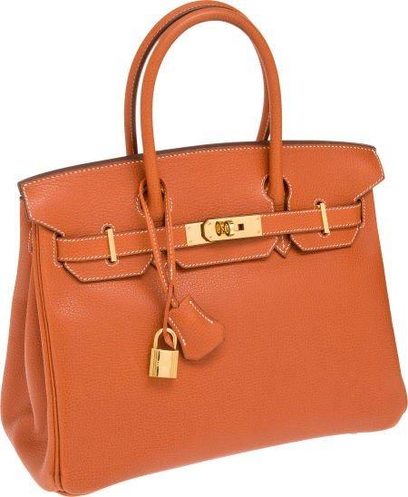56008: Hermes 30cm Terracotta Vache Liegee Leather Birk