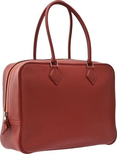 56009: Hermes 32cm Brick Togo Leather Plume Bag with Pa
