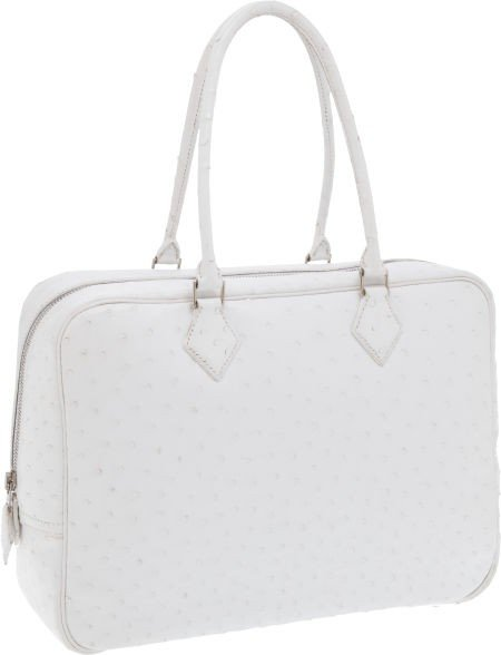 56010: Hermes 32cm Special Order White Ostrich Plume Ba