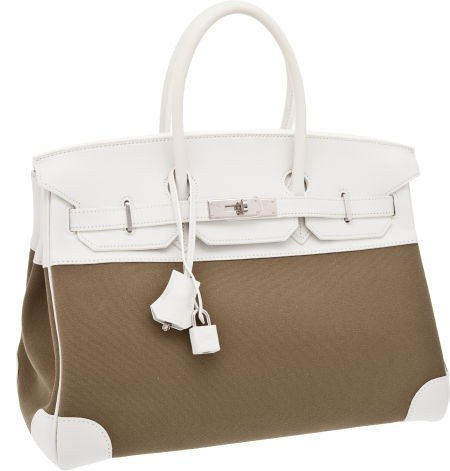 56011: Hermes 35cm Olive Canvas and White Swift Leather