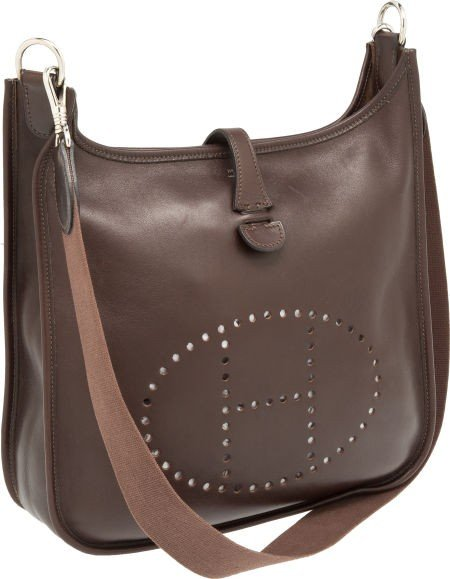 56014: Hermes Chocolate Swift Leather Evelyne Messenger