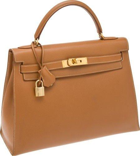 56015: Hermes 32cm Gold Epsom Leather Rigide Kelly Bag