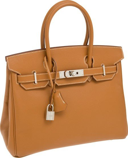 56016: Hermes 30cm Gold Epsom Leather Birkin Bag with P