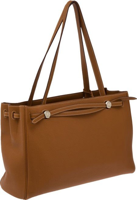56017: Hermes Gold Clemence Leather Cabana Bag with Pal