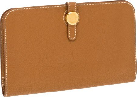 56018: Hermes Gold Togo Leather Dogon Wallet and Access