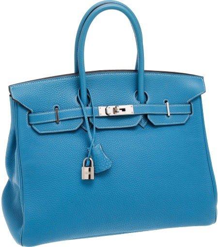 56019: Hermes 35cm Blue Jean Clemence Leather Birkin Ba