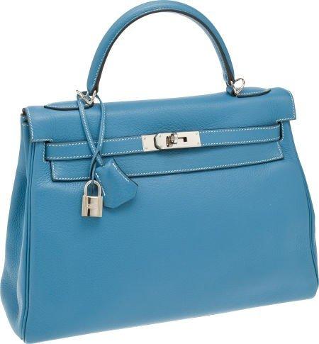 56020: Hermes 32cm Blue Jean Clemence Leather Retourne