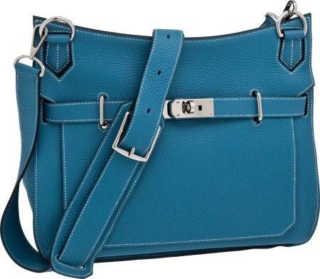 56021: Hermes Blue Jean 34cm Clemence Leather Jypsiere