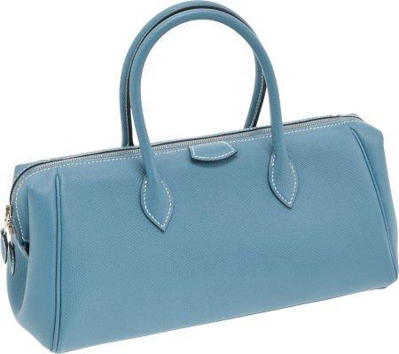 56022: Hermes Blue Jean Epsom Leather Paris-Bombay PM B