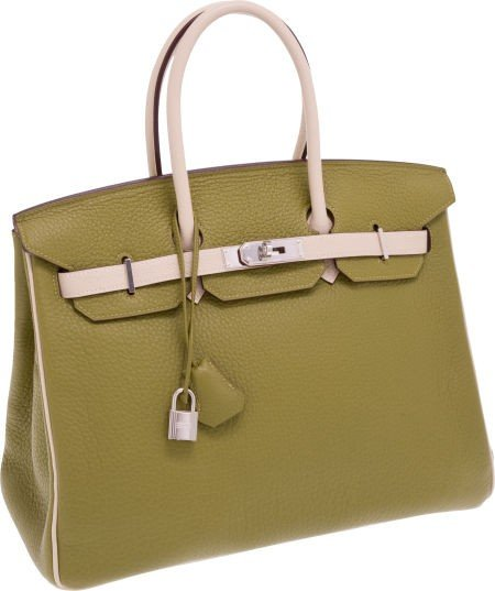 56023: Hermes Special Order Chartreuse & Parchment Two-