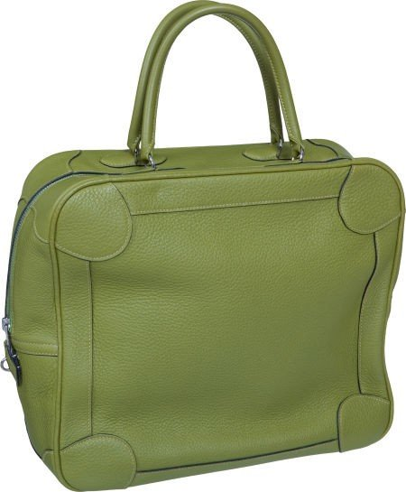56024: Hermes Vert Chartreuse Clemence Leather Omnibus