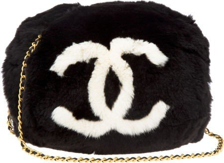 56107: Chanel Black & White Rabbit Fur Muff Bag
