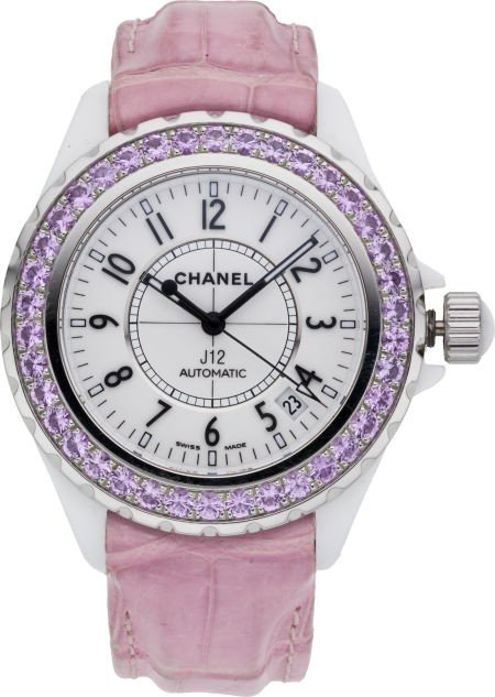 56114: Chanel J12 Pink Sapphire Watch with Pink Crocodi