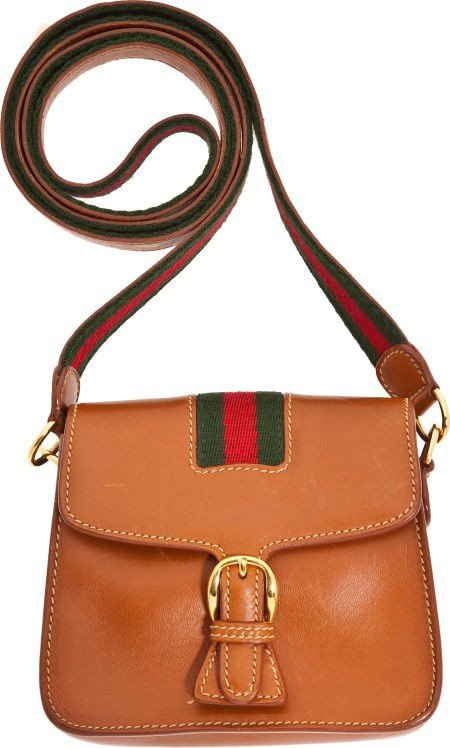 56190: Gucci Vintage Natural Tan Leather Classic Stripe