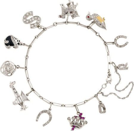 58198: Art Deco Diamond, Ruby, Enamel, Platinum, White