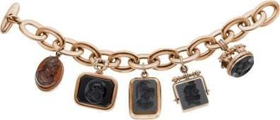 58209: Carved Onyx, Carnelian, Gold Bracelet, Hermes