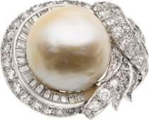 58228 South Sea Cultured Pearl Diamond Platinum Ring