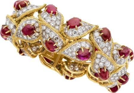 58577: Diamond, Ruby, Platinum, Gold Bracelet, French