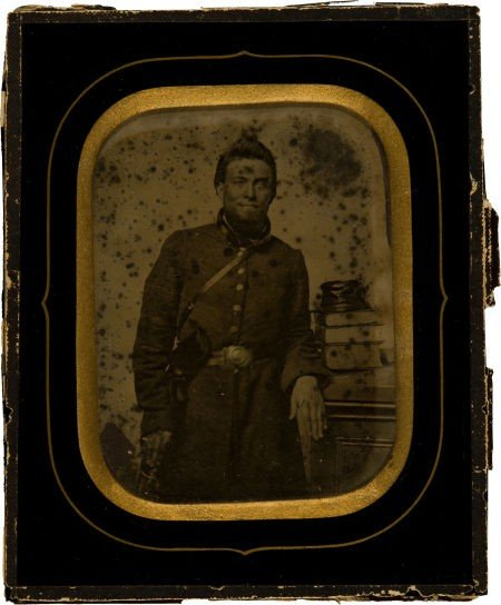 52004: Half Plate Ambrotype of a Confederate Officer Li