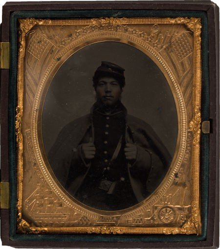 52017: Sixth Plate Civil War Tintype of a Black Federal