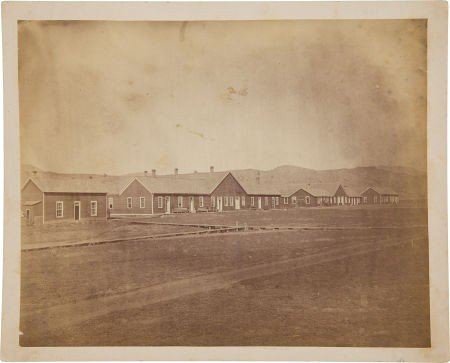 52022: Scarce Albumen Photographic View Of Fort Ellis M