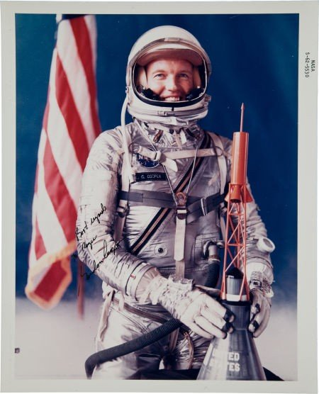 40007: Gordon Cooper Signed Color NASA Glossy Spacesuit