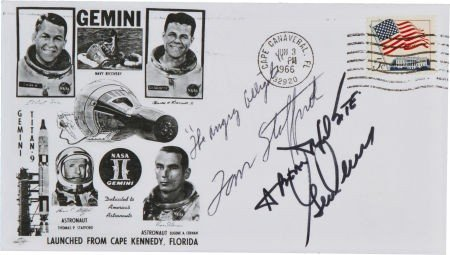 40024: Gemini 9A Crew-Signed Launch Cover with Remarks.