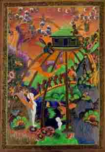66042: A WEDGWOOD FAIRYLAND LUSTRE PLAQUE Wedgwood, Bu