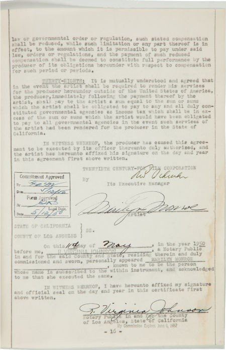 46003: A Marilyn Monroe Early Signed Contract for Twent