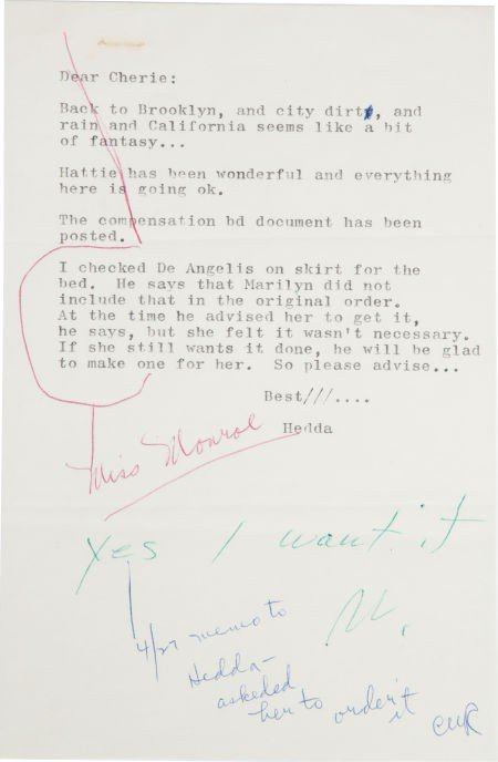 46006: A Marilyn Monroe Annotated Note, 1962.