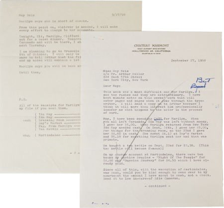 46007: A Marilyn Monroe-Related Letter, 1958.