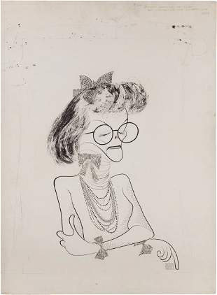 46019: A Katharine Hepburn Original Drawing by Al Hirsc