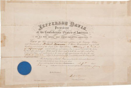 34050: Jefferson Davis Signed Judicial Appointment.