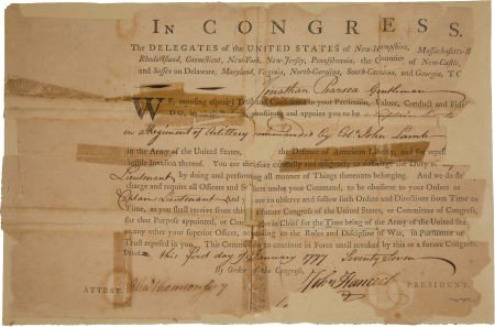 34014: John Hancock Signed Military Appointment as Pres
