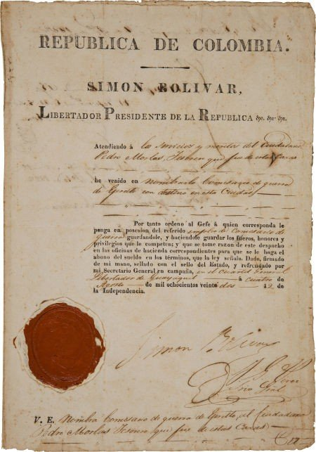 34127: Simon Bolivar Document Signed as President of Co