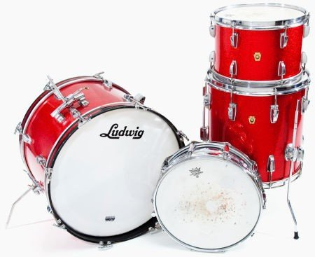 54319: 1966 Ludwig Red Sparkle 4-Piece Drum Set