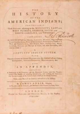 36001: James Adair. The History of the American Indians