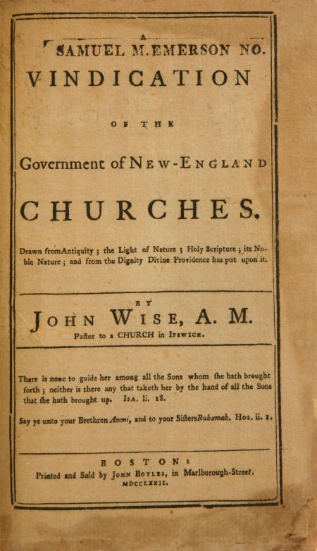 36022: John Wise. A Vindication of the Government of Ne