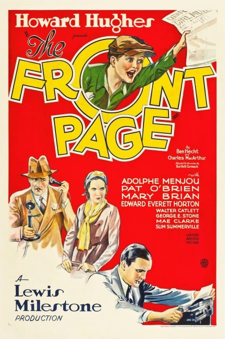 83011: The Front Page (United Artists, 1931). One Sheet