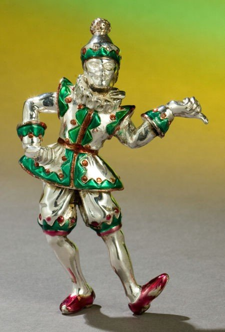68001: A TIFFANY & CO. SILVER AND ENAMEL CIRCUS CLOWN D