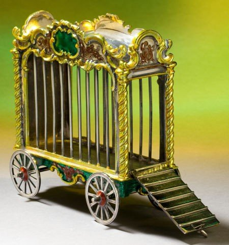 68011: A TIFFANY & CO. SILVER AND ENAMEL LION CAGE DESI