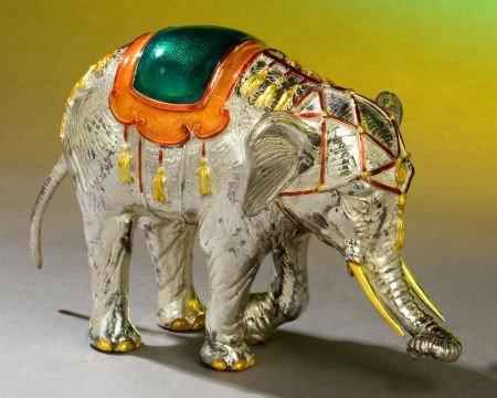 68013: A TIFFANY & CO. SILVER AND ENAMEL CIRCUS ELEPHAN