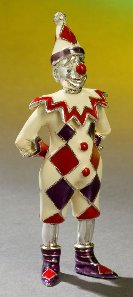 68016: A TIFFANY & CO. SILVER AND ENAMEL CIRCUS CLOWN D