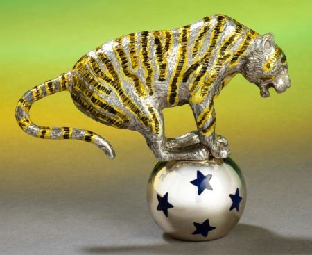 68018: A TIFFANY & CO. SILVER AND ENAMEL TIGER AND BALL