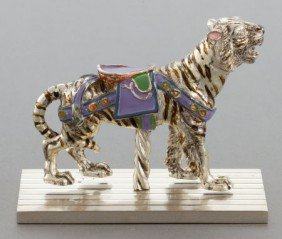 A TIFFANY & CO. SILVER AND ENAMEL CIRCUS CAROUSE