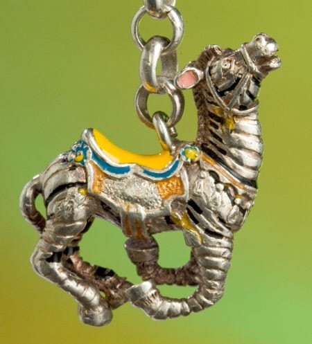 68027: A TIFFANY & CO. SILVER AND ENAMEL CIRCUS ZEBRA K