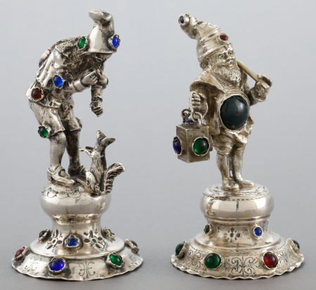 68028: TWO GERMAN SILVER AND HARDSTONE FIGURES  Maker u