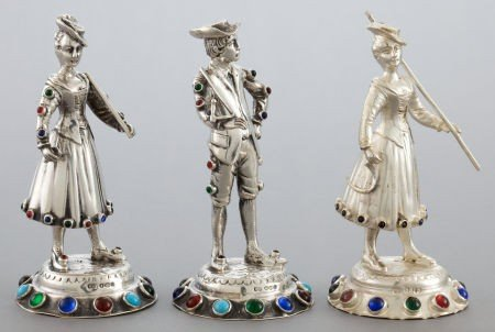 68029: THREE GERMAN SILVER AND HARDSTONE FIGURES  Maker