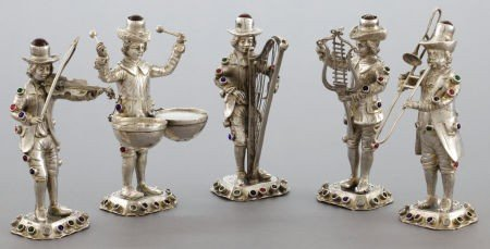 68030: A FIVE PIECE GERMAN SILVER AND HARDSTONE FIGURAL