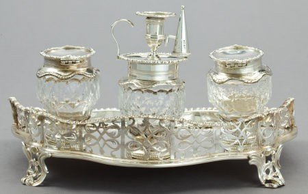 68061: A FOX VICTORIAN SILVER AND CUT GLASS INKSTAND  C